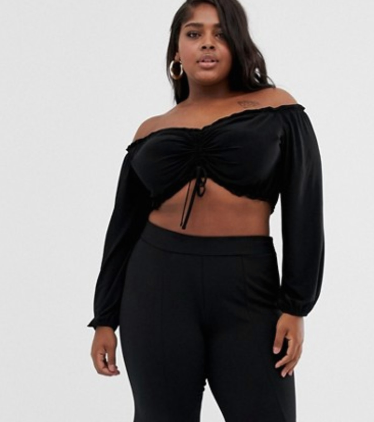 Flounce London Plus bardot crop top with ruched detail in black