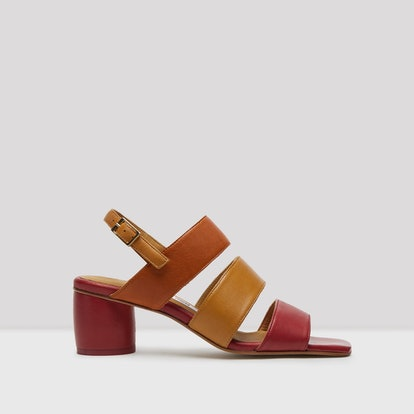 Ivon Brick Camel Bordeaux Leather Sandals