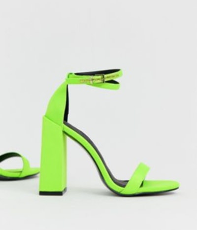 Highlight Barely There Block Heeled Sandals In Neon Green