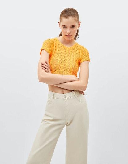 Neon open knit crop top