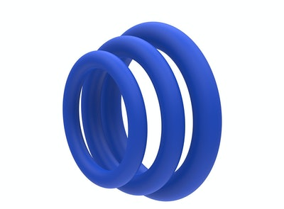 Lynk Pleasure Products Super Soft Erection Enhancing Blue Cock Ring (3-Pack)