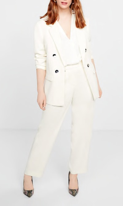 Double-Breasted Blazer & Buttons Straight-Fit Trousers