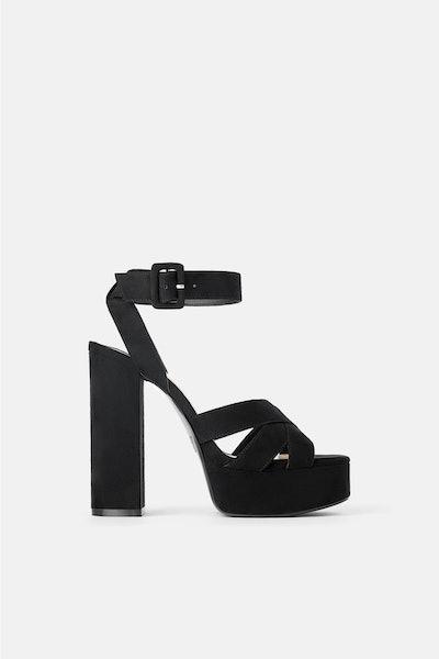 Wide Heeled Platform Sandals