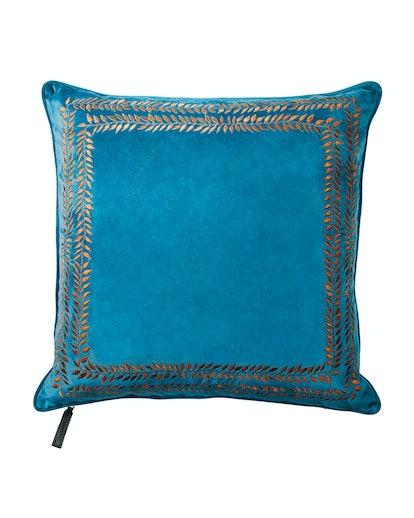 Jan Barboglio Valencia Embroidered Velvet Throw Pillow, Turquoise