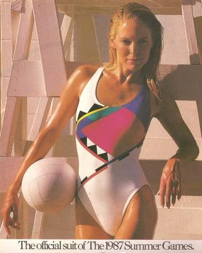 The 1987 Speedo ad featured a high-cut printed one-piece swimsuit.
