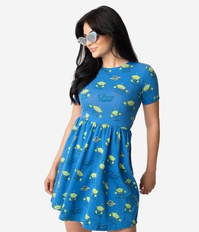 Cakeworthy Blue Pizza Planet Print Cotton Fit & Flare Dress