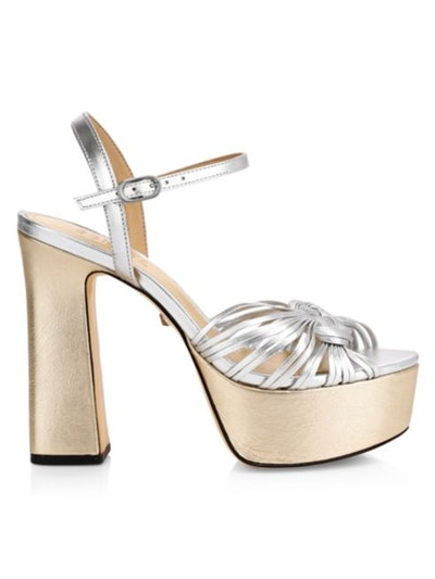 Anselma Metallic Leather Platform Sandals