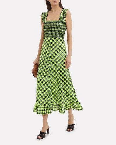Checked Seersucker Smocked Dress