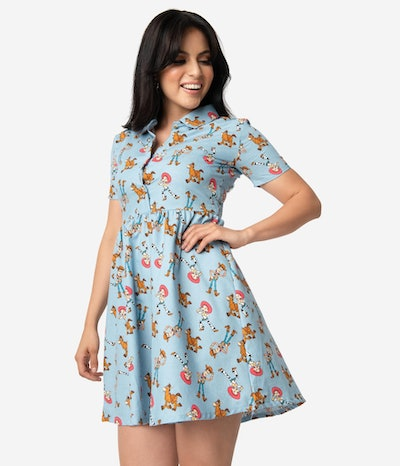 Cakeworthy Chambray Woodys Roundup Character Print Fit & Flare Dress