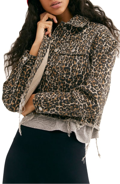 Cheetah Print Cutoff Denim Jacket