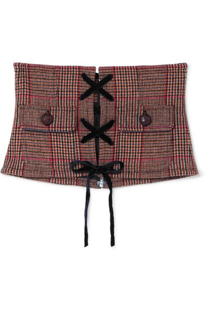 Prince of Wales Checked Wool-Blend Corset Belt