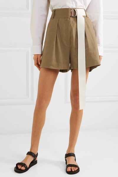 Pleated Belted Linen-Blend Twill Shorts