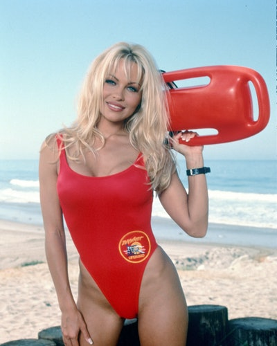 Actor Pamela Anderson wears a high-cut red swimsuit in the 1989 Baywatch movie.