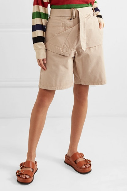 Belted Cotton-Drill Shorts