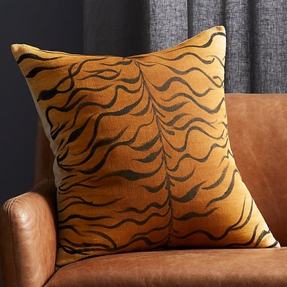 Handpainted Tiger Print Pillow