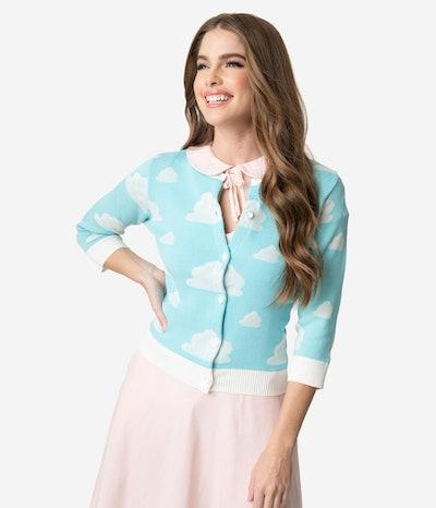 Elhoffer Design Retro Style Light Blue Sky & White Cloud Knit Cardigan