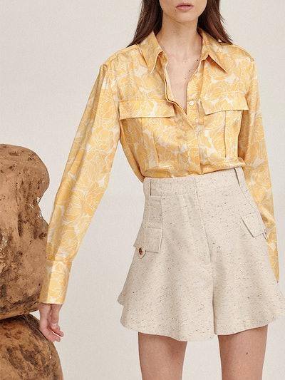 Kota Pleated Crepe Shorts
