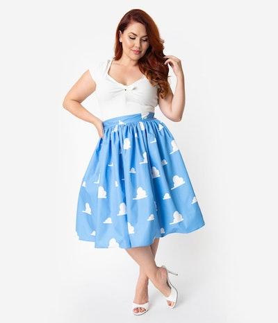 Unique Vintage Plus Size Light Blue & White Cloud Print High Waist Swing Skirt