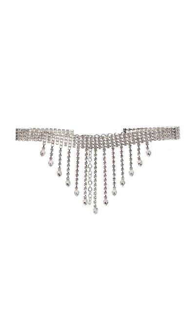 Fringe Crystal-Embellished Belt