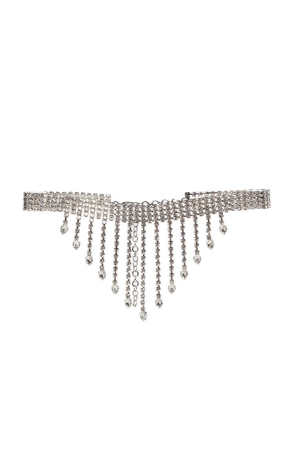 Fringe Crystal-Embellished Belt
