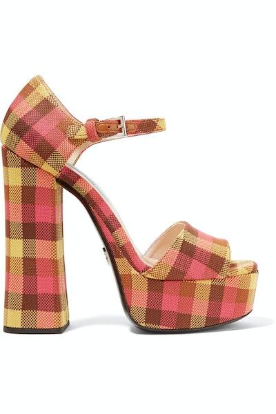 Checked Platform Sandal