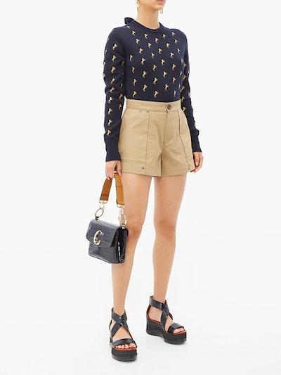 Patch-Pocket Cotton-Canvas Shorts