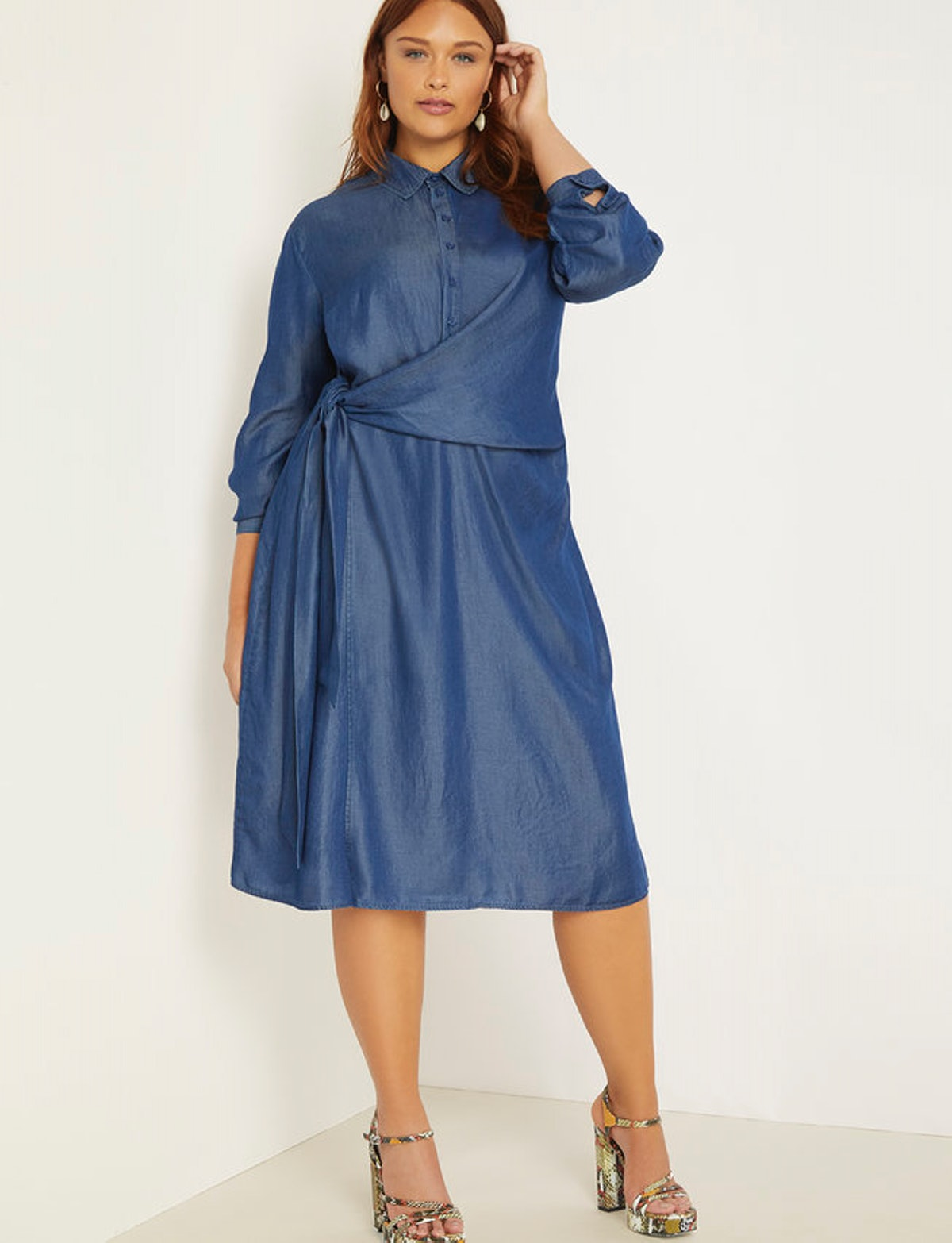 Cinched Waist Chambray Dress