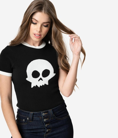 Elhoffer Design Retro Style Black & White Toy Skull Knit Tank Sweater