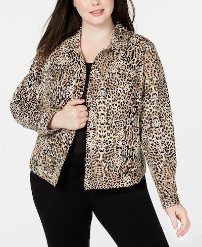 Plus Size Leopard-Print Denim Jacket