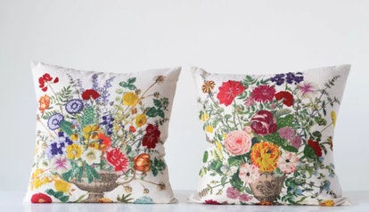 Kerfoot with Embroidered Flowers Throw Pillow