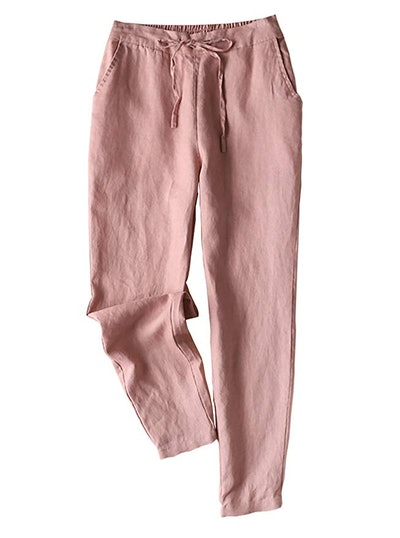 Yimoon Tapered Drawstring Cropped Linen Pants