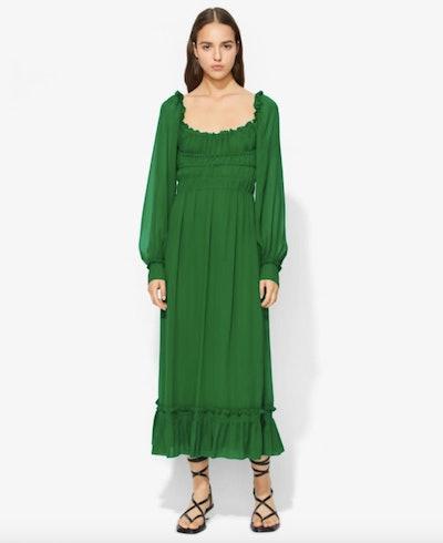 Crepe Chiffon Square Neck Dress