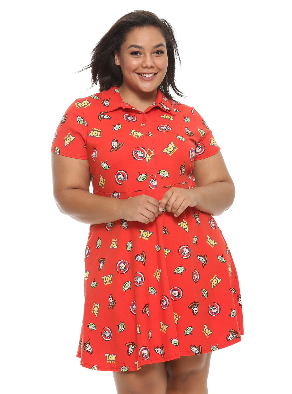 Red Collared Plus Size Dress