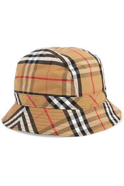 Checked cotton-canvas bucket hat