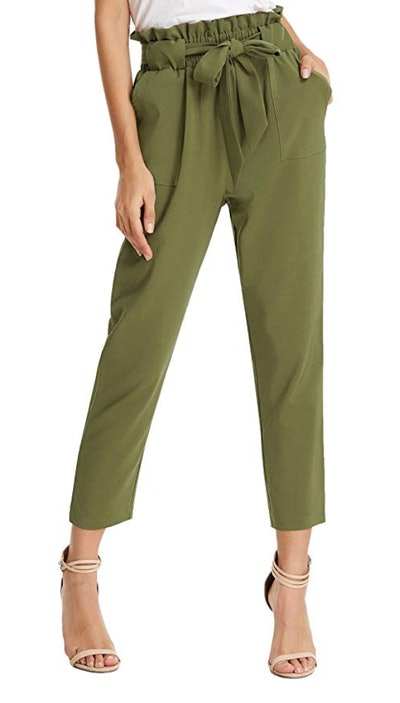 Grace Karin Cropped Paper Bag Waist Pants