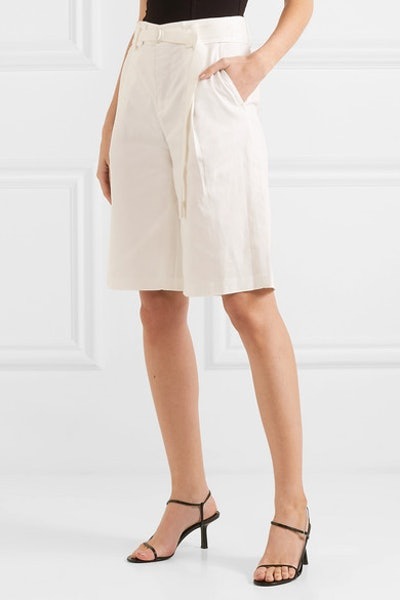 Belted Pleated Cotton-Blend Twill Shorts
