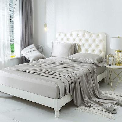 Zimasilk 4 Pcs 100% Mulberry Silk Bed Sheet Set, Queen