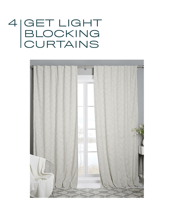 Cotton Textured Weave Curtain + Blackout Lining (Ivory)