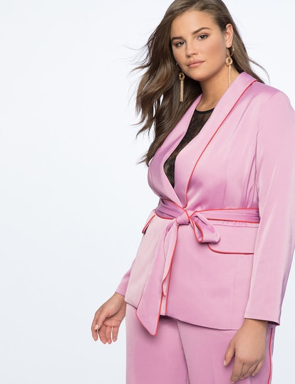 Piping Trimmed Blazer with Belt
