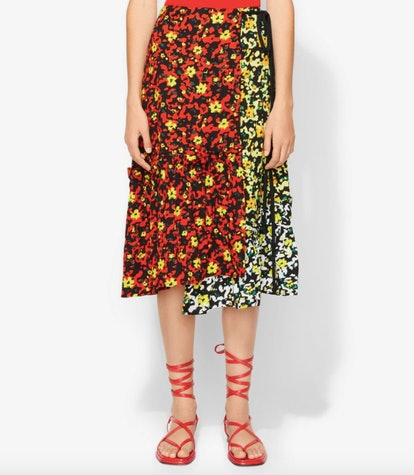 Multi Floral Asymmetrical Skirt
