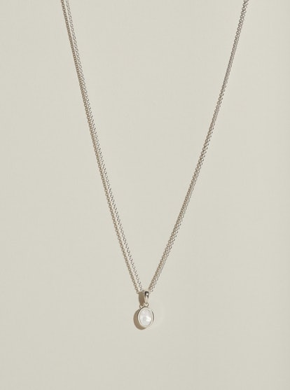 Inlay Pearl Signet Pendant in Silver