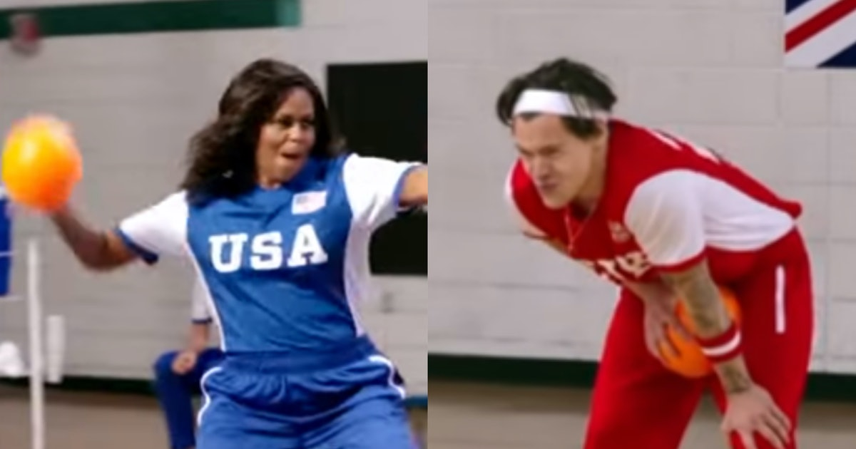 The Video Of Michelle Obama Hitting Harry Styles In The Crotch With A Ball Is Hilarious