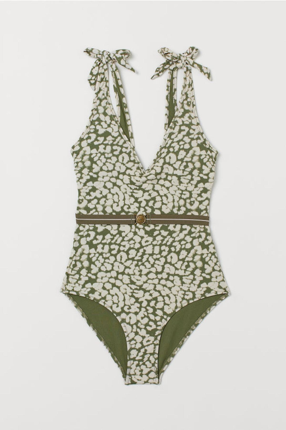 V-neck Swimsuit with Belt