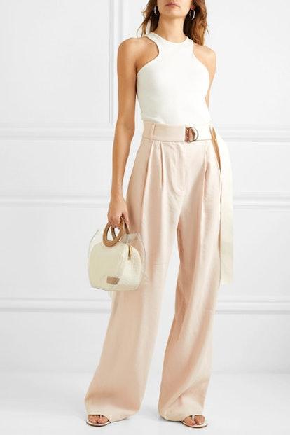 Bianca Belted Linen Blend Wide-Leg Pants