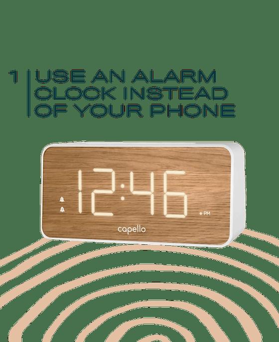 Capello® Extra Large Display Digital Alarm Clock White/Pine