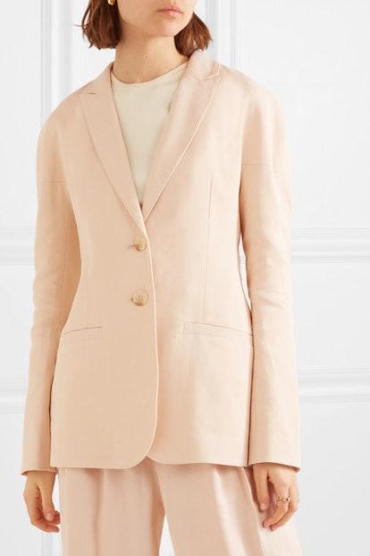 Oversized Linen-Blend Twill Blazer