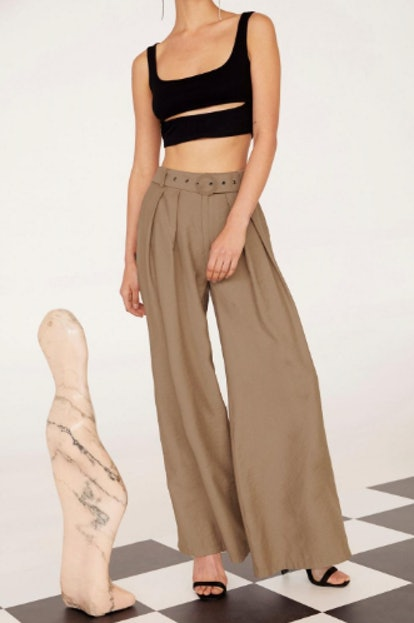 EMRATA Business As Usual Wide-Leg Belted Pants
