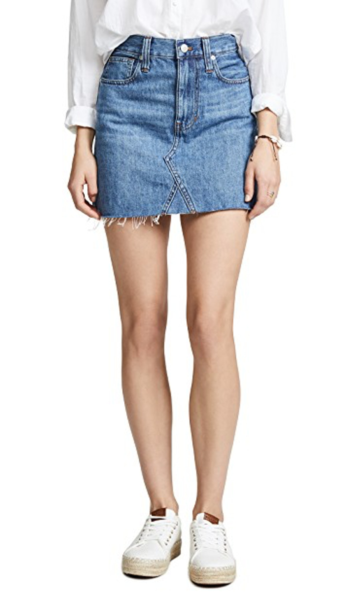Madewell Rigid Denim A-Line Mini Skirt in Lakeline Wash