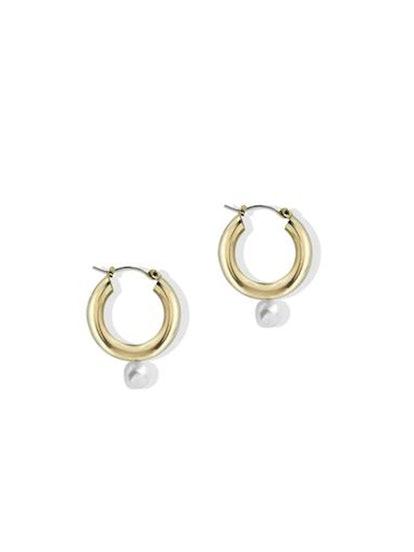 The Pearl Tube Hoop Earring