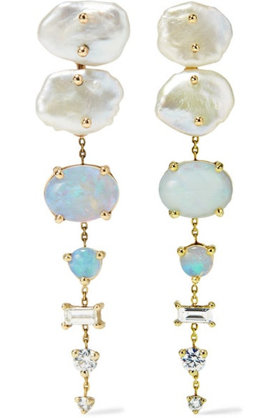 WWAKE NET SUSTAIN 14-Karat Gold Multi-Stone Earrings